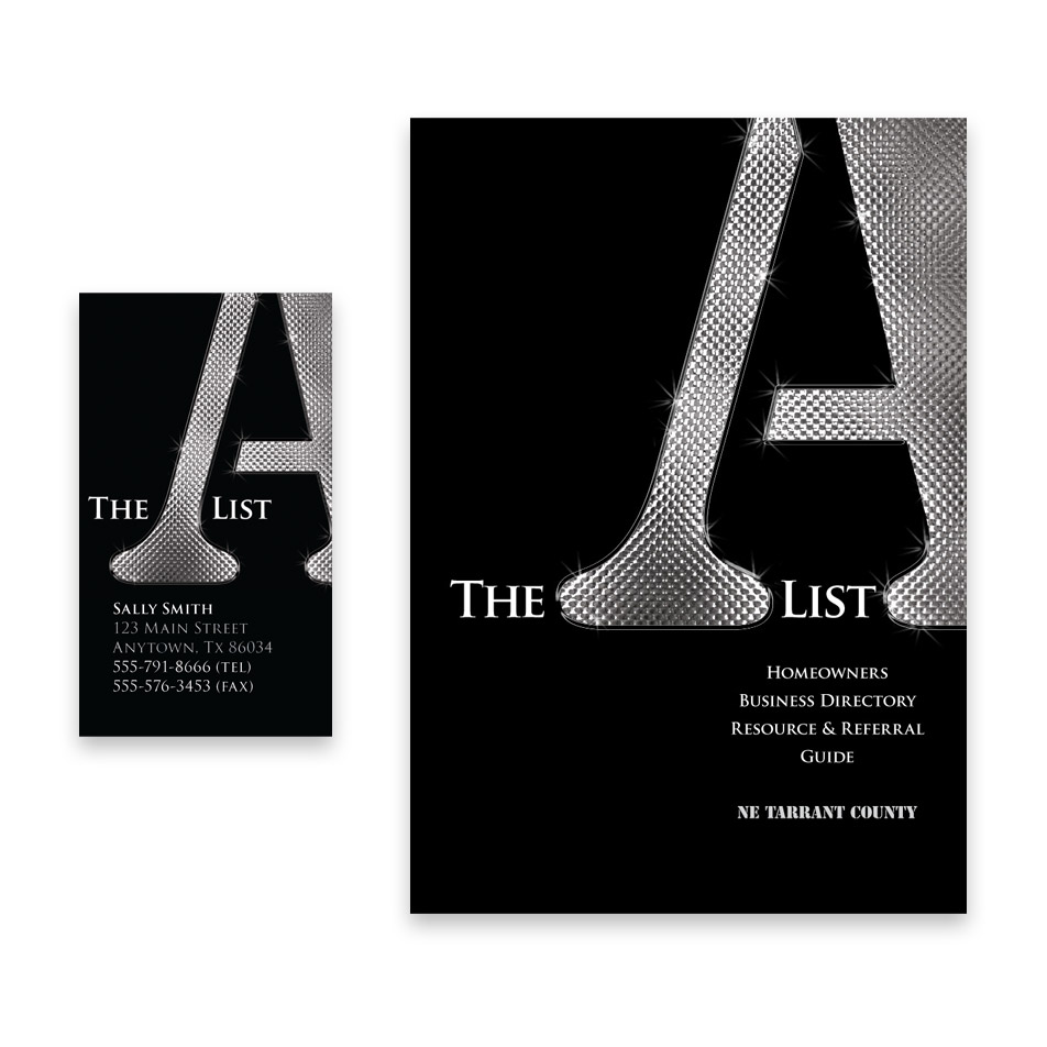 Business Card, Directory Cover Design for The A List
